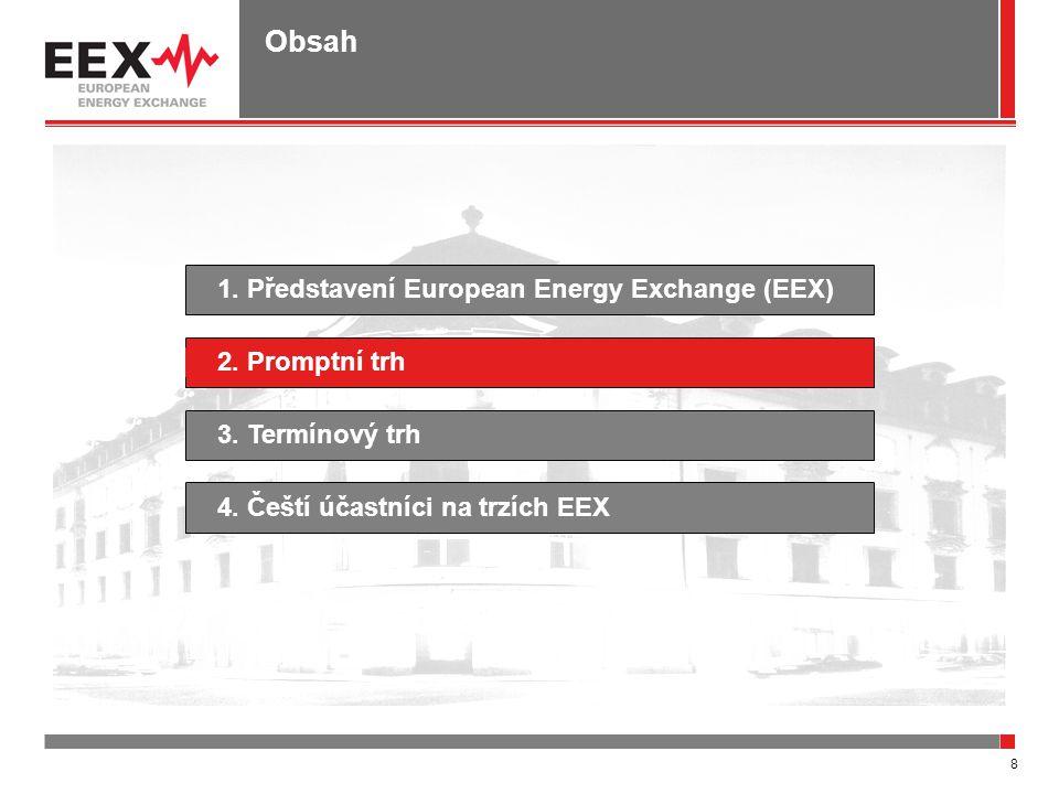 8 Obsah 1. Představení European Energy Exchange (EEX)4. Čeští účastníci na trzích EEX2. Promptní trh3. Termínový trh