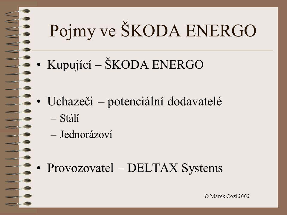 © Marek Cozl 2002 Pojmy ve ŠKODA ENERGO Kupující – ŠKODA ENERGO Uchazeči – potenciální dodavatelé –Stálí –Jednorázoví Provozovatel – DELTAX Systems