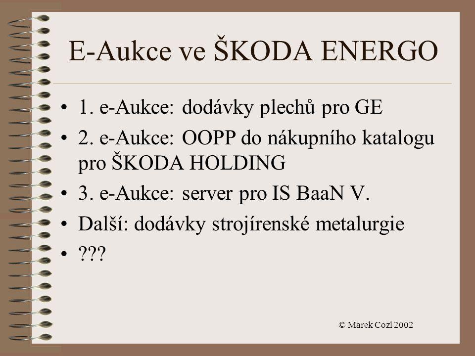© Marek Cozl 2002 E-Aukce ve ŠKODA ENERGO 1. e-Aukce: dodávky plechů pro GE 2.