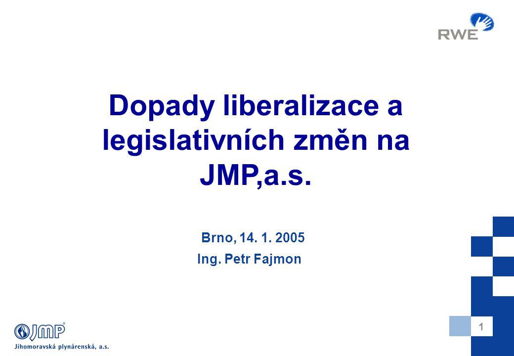 1 Brno, 14. 1. 2005 Ing. Petr Fajmon Dopady liberalizace a legislativních změn na JMP,a.s.