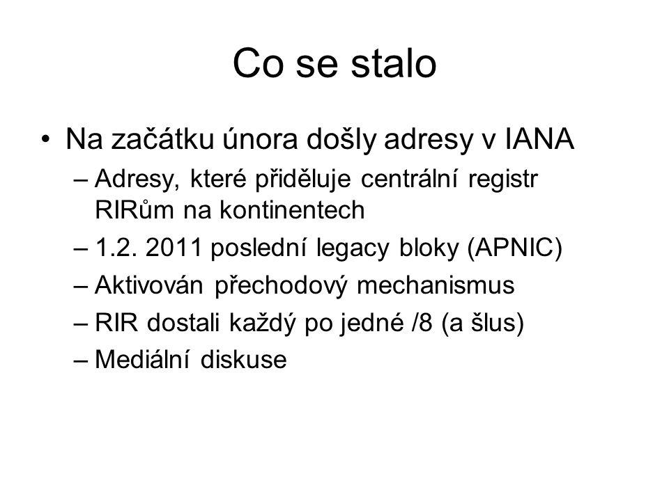 Co se stalo Na začátku února došly adresy v IANA –Adresy, které přiděluje centrální registr RIRům na kontinentech –1.2. 2011 poslední legacy bloky (AP