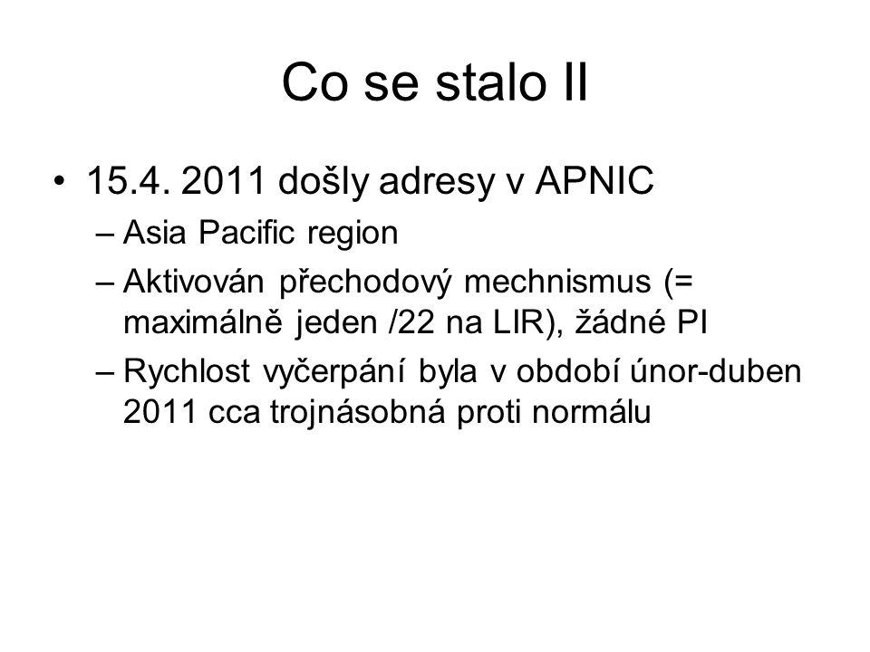 Co se stalo II 15.4. 2011 došly adresy v APNIC –Asia Pacific region –Aktivován přechodový mechnismus (= maximálně jeden /22 na LIR), žádné PI –Rychlos