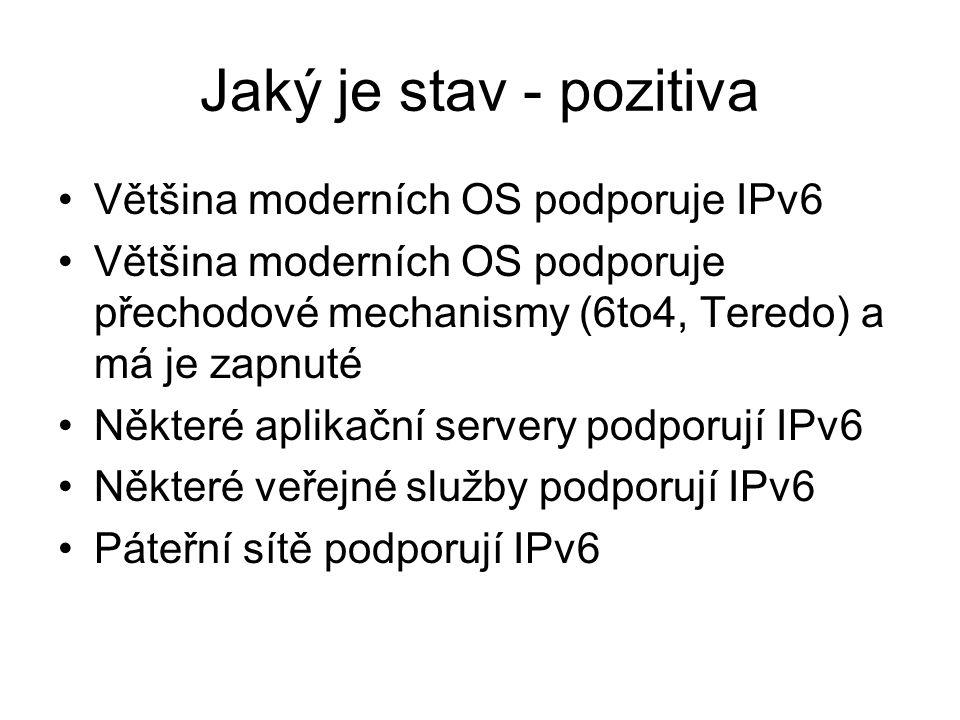 Jaký je stav - pozitiva Většina moderních OS podporuje IPv6 Většina moderních OS podporuje přechodové mechanismy (6to4, Teredo) a má je zapnuté Někter