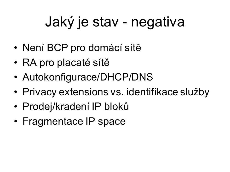 Jaký je stav - negativa Není BCP pro domácí sítě RA pro placaté sítě Autokonfigurace/DHCP/DNS Privacy extensions vs. identifikace služby Prodej/kraden