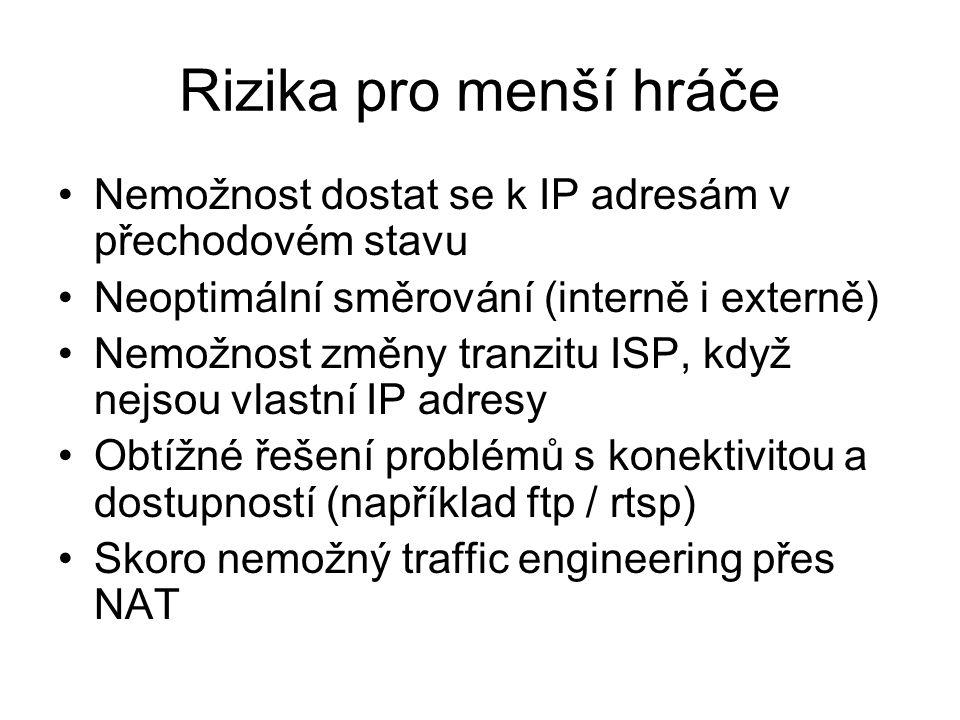 Rizika pro menší hráče Nemožnost dostat se k IP adresám v přechodovém stavu Neoptimální směrování (interně i externě) Nemožnost změny tranzitu ISP, když nejsou vlastní IP adresy Obtížné řešení problémů s konektivitou a dostupností (například ftp / rtsp) Skoro nemožný traffic engineering přes NAT
