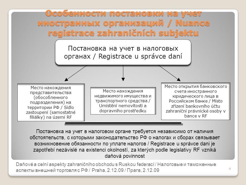 Daňové a celní aspekty zahraničního obchodu s Ruskou federací Особенности постановки на учет иностранных организаций / Nuance registrace zahraničních