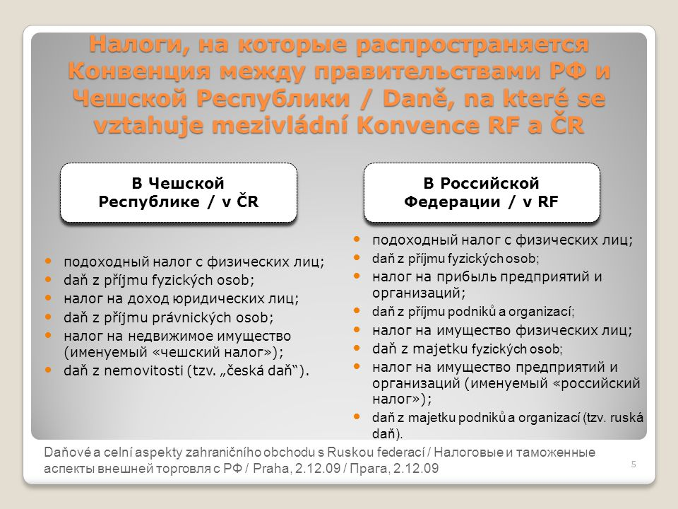 Daňové a celní aspekty zahraničního obchodu s Ruskou federací Налоги, на которые распространяется Конвенция между правительствами РФ и Чешской Республ