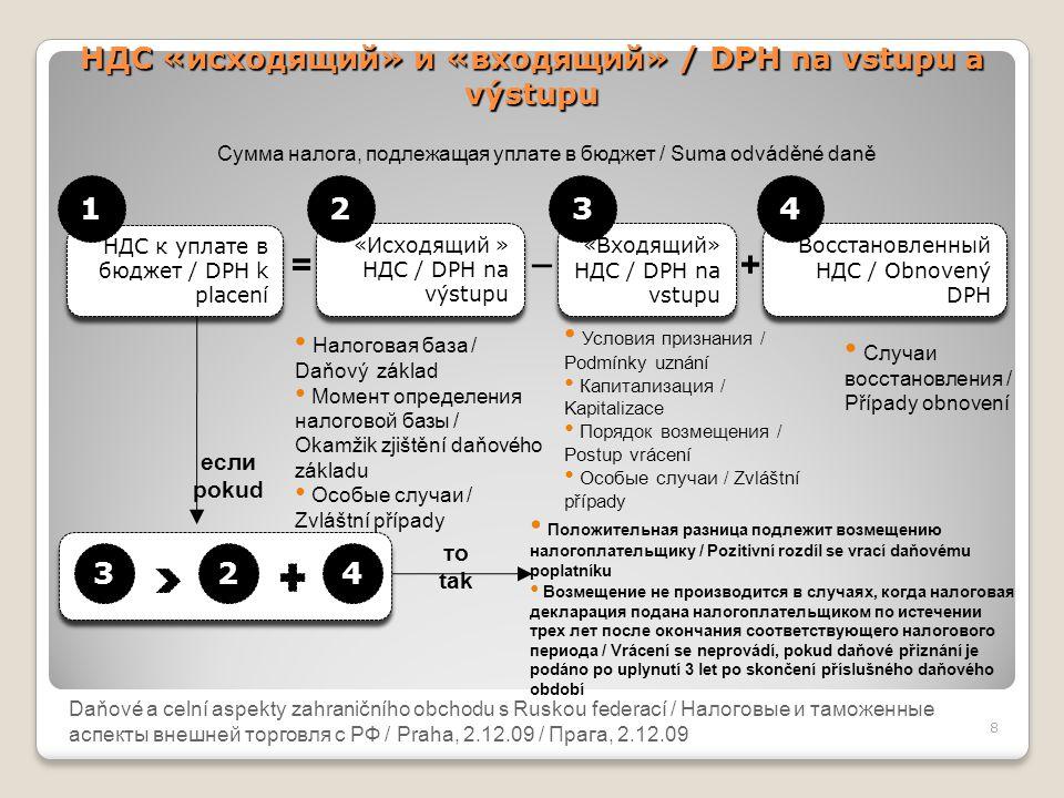 Daňové a celní aspekty zahraničního obchodu s Ruskou federací НДС «исходящий» и «входящий» / DPH na vstupu a výstupu 8 Daňové a celní aspekty zahranič
