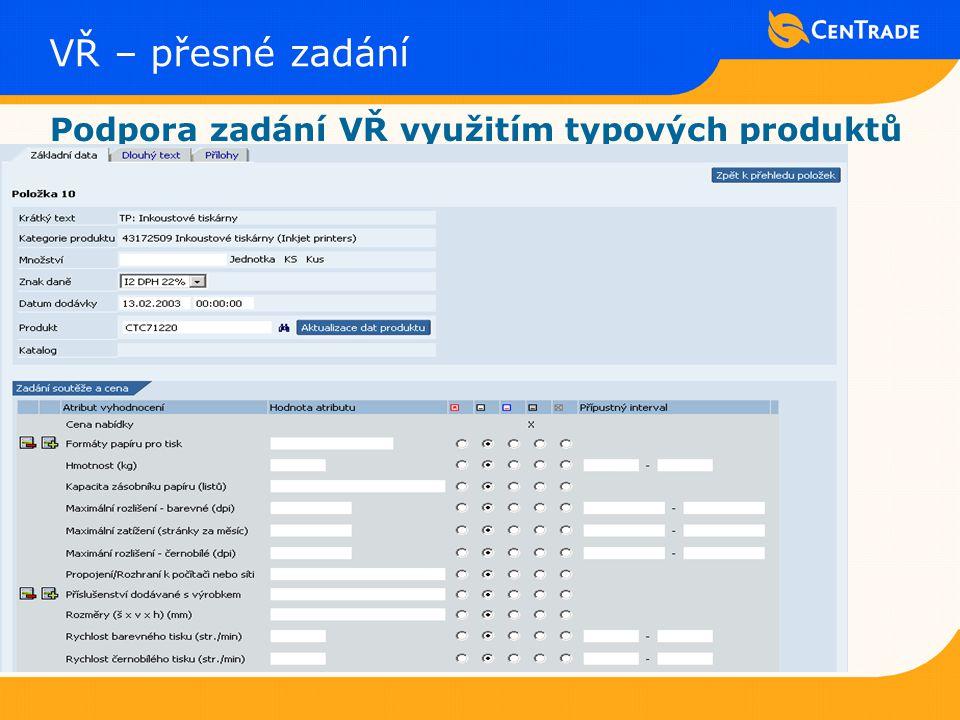 VŘ – přesné zadání Podpora zadání VŘ využitím typových produktů