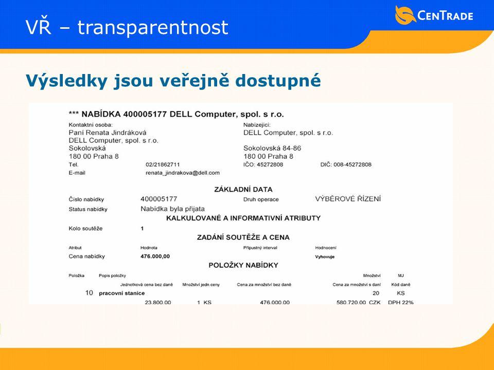 VŘ – transparentnost Výsledky jsou veřejně dostupné