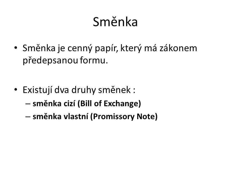 Směnka Směnka je cenný papír, který má zákonem předepsanou formu. Existují dva druhy směnek : – směnka cizí (Bill of Exchange) – směnka vlastní (Promi