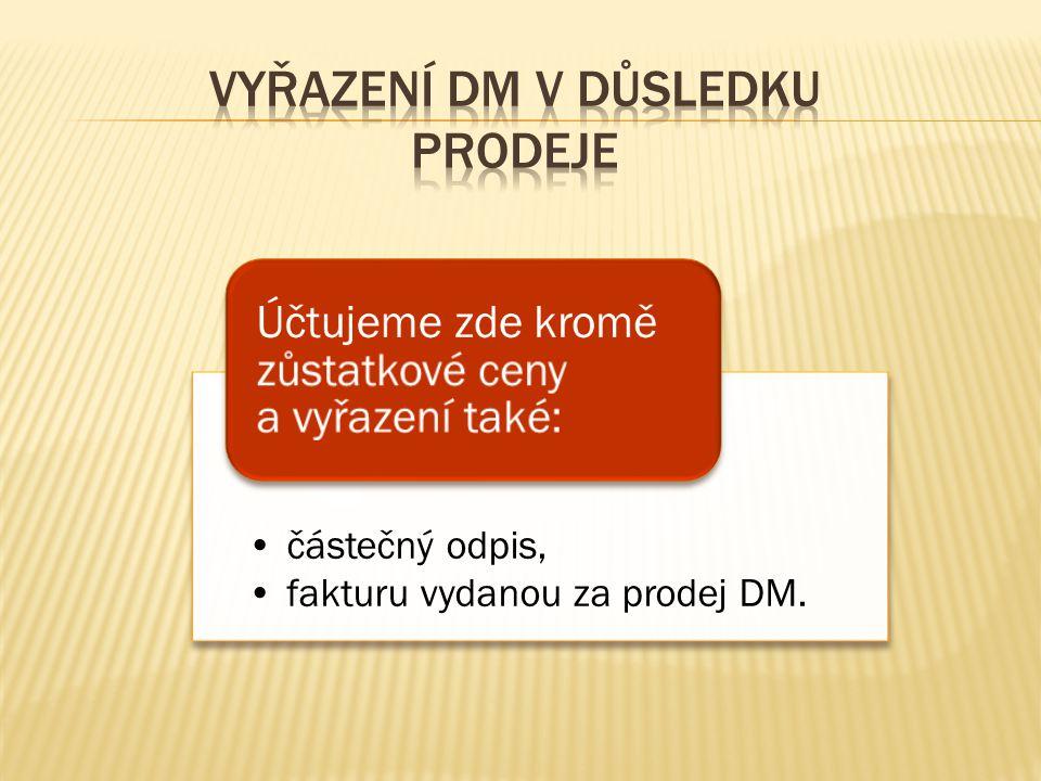 částečný odpis, fakturu vydanou za prodej DM. Účtujeme zde kromě zůstatkové ceny a vyřazení také: