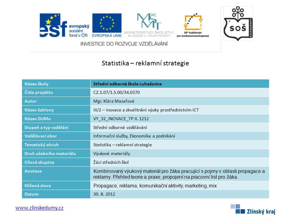 Statistika – reklamní strategie www.zlinskedumy.cz Název školyStřední odborná škola Luhačovice Číslo projektuCZ.1.07/1.5.00/34.0370 AutorMgr.