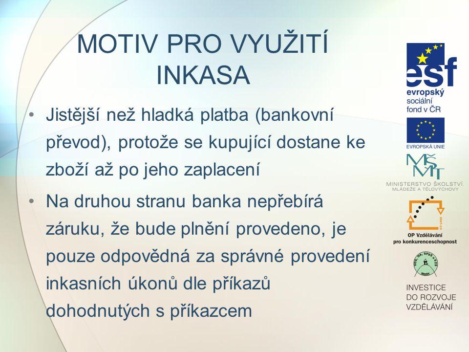 PRŮBĚH INKASA 1)SJEDNÁNÍ PODMÍNEK Prodávající s kupujícím sjednají platební podmínky kontraktu Prodávající kontaktuje banku