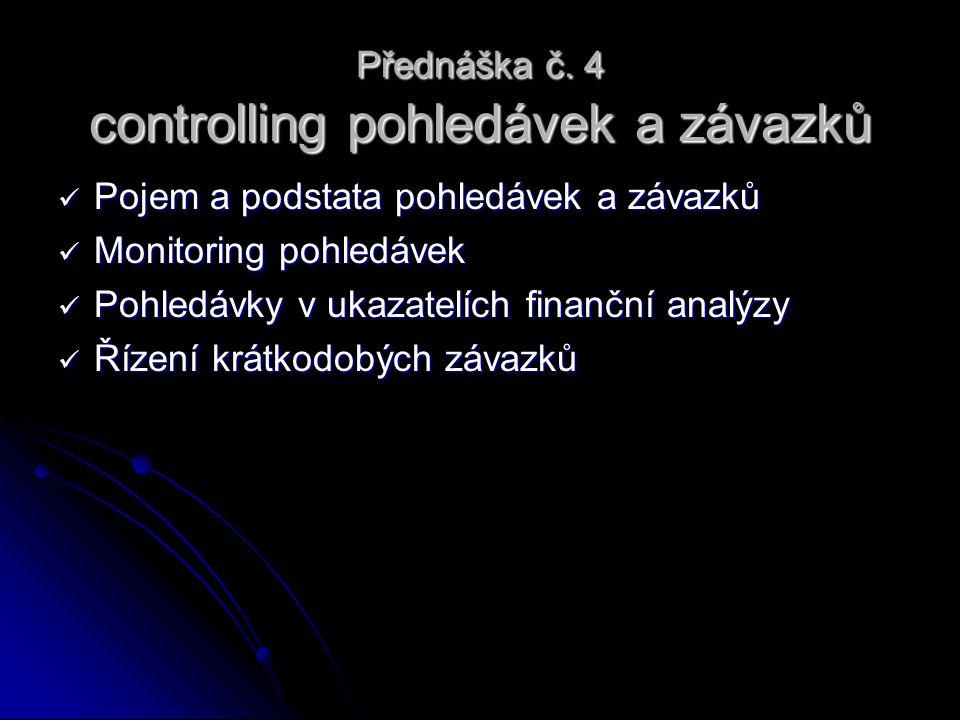 Přednáška č. 4 controlling pohledávek a závazků Pojem a podstata pohledávek a závazků Pojem a podstata pohledávek a závazků Monitoring pohledávek Moni
