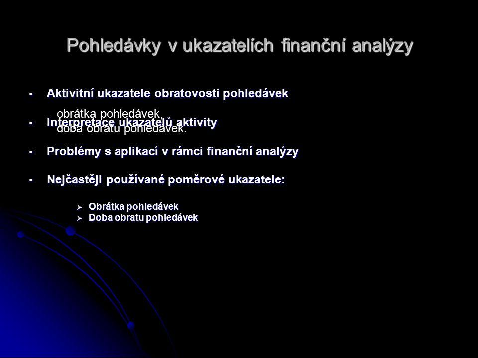 Pohledávky v ukazatelích finanční analýzy  Aktivitní ukazatele obratovosti pohledávek  Interpretace ukazatelů aktivity  Problémy s aplikací v rámci