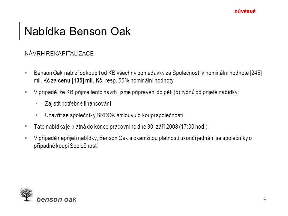 DŮVĚRNÉ benson oak 4 Nabídka Benson Oak  Benson Oak nabízí odkoupit od KB všechny pohledávky za Společností v nominální hodnotě [245] mil. Kč za cenu