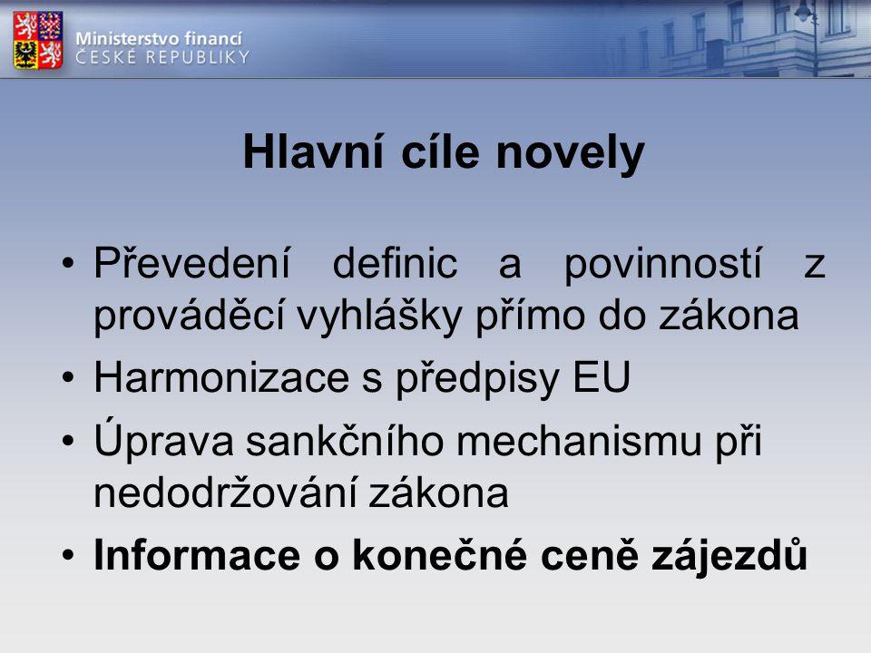 Hlavní cíle novely Převedení definic a povinností z prováděcí vyhlášky přímo do zákona Harmonizace s předpisy EU Úprava sankčního mechanismu při nedodržování zákona Informace o konečné ceně zájezdů