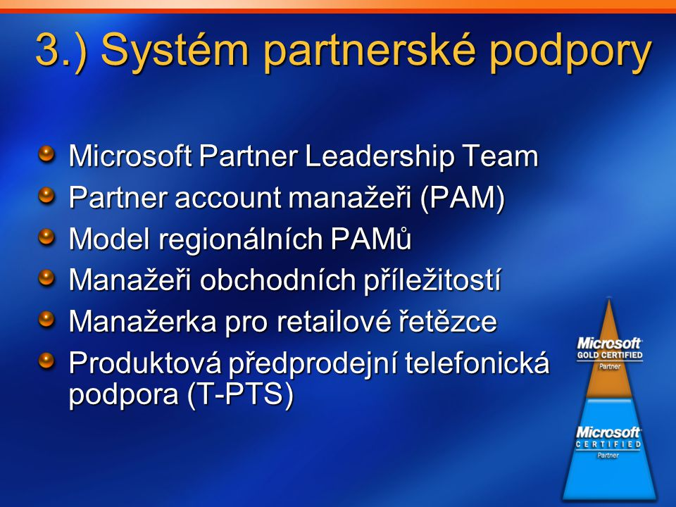 3.) Systém partnerské podpory Microsoft Partner Leadership Team Partner account manažeři (PAM) Model regionálních PAMů Manažeři obchodních příležitostí Manažerka pro retailové řetězce Produktová předprodejní telefonická podpora (T-PTS)
