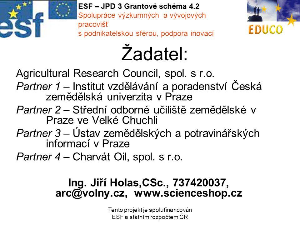 Tento projekt je spolufinancován ESF a státním rozpočtem ČR Žadatel: Agricultural Research Council, spol.
