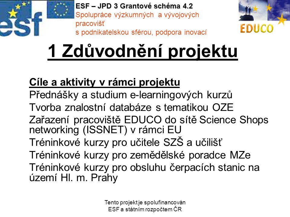 Tento projekt je spolufinancován ESF a státním rozpočtem ČR 1 Zdůvodnění projektu Cíle a aktivity v rámci projektu Přednášky a studium e-learningových kurzů Tvorba znalostní databáze s tematikou OZE Zařazení pracoviště EDUCO do sítě Science Shops networking (ISSNET) v rámci EU Tréninkové kurzy pro učitele SZŠ a učilišť Tréninkové kurzy pro zemědělské poradce MZe Tréninkové kurzy pro obsluhu čerpacích stanic na území Hl.