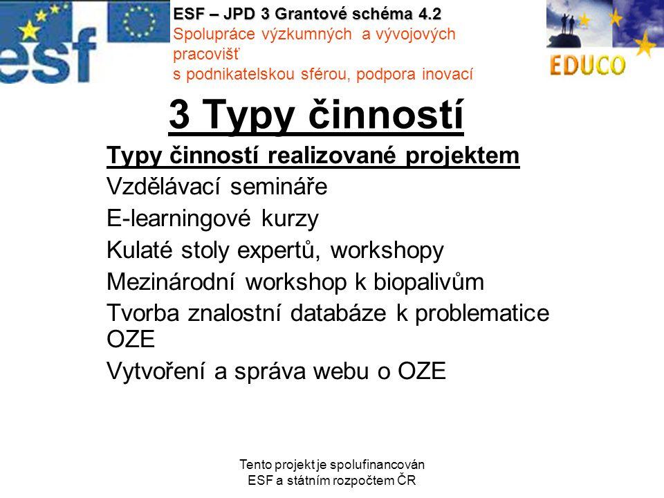 Tento projekt je spolufinancován ESF a státním rozpočtem ČR 3 Typy činností Typy činností realizované projektem Vzdělávací semináře E-learningové kurzy Kulaté stoly expertů, workshopy Mezinárodní workshop k biopalivům Tvorba znalostní databáze k problematice OZE Vytvoření a správa webu o OZE ESF – JPD 3 Grantové schéma 4.2 Spolupráce výzkumných a vývojových pracovišť s podnikatelskou sférou, podpora inovací