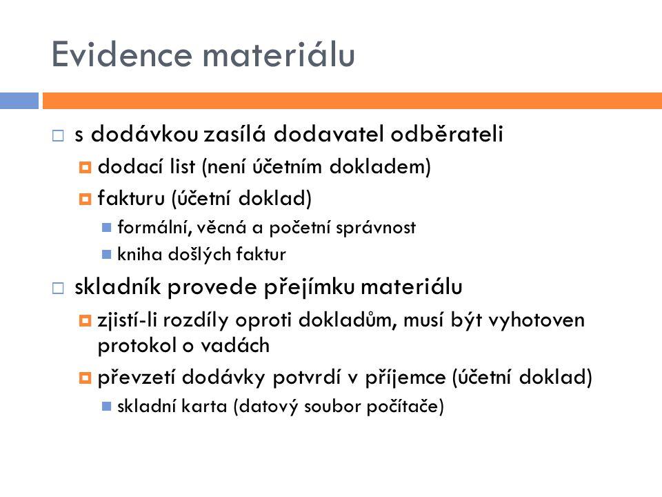 Evidence materiálu  s dodávkou zasílá dodavatel odběrateli  dodací list (není účetním dokladem)  fakturu (účetní doklad) formální, věcná a početní