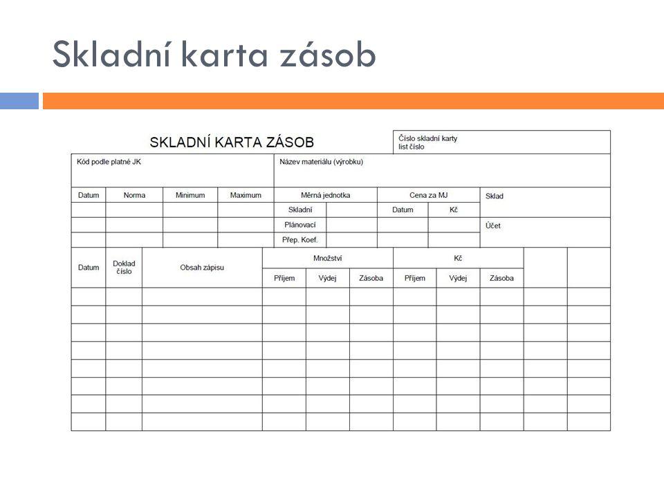 Vyskladnění materiálu  výdejka  vyhotovuje odebírající středisko (účel spotřeby)  doplňuje skladník  převodka  doklad pro pohyb materiálu uvnitř podniku  skladní karta zásob  zápis pohybu materiálu  analytická evidence podle druhu zásob  odsouhlasení s výsledky inventury – inventarizační rozdíly
