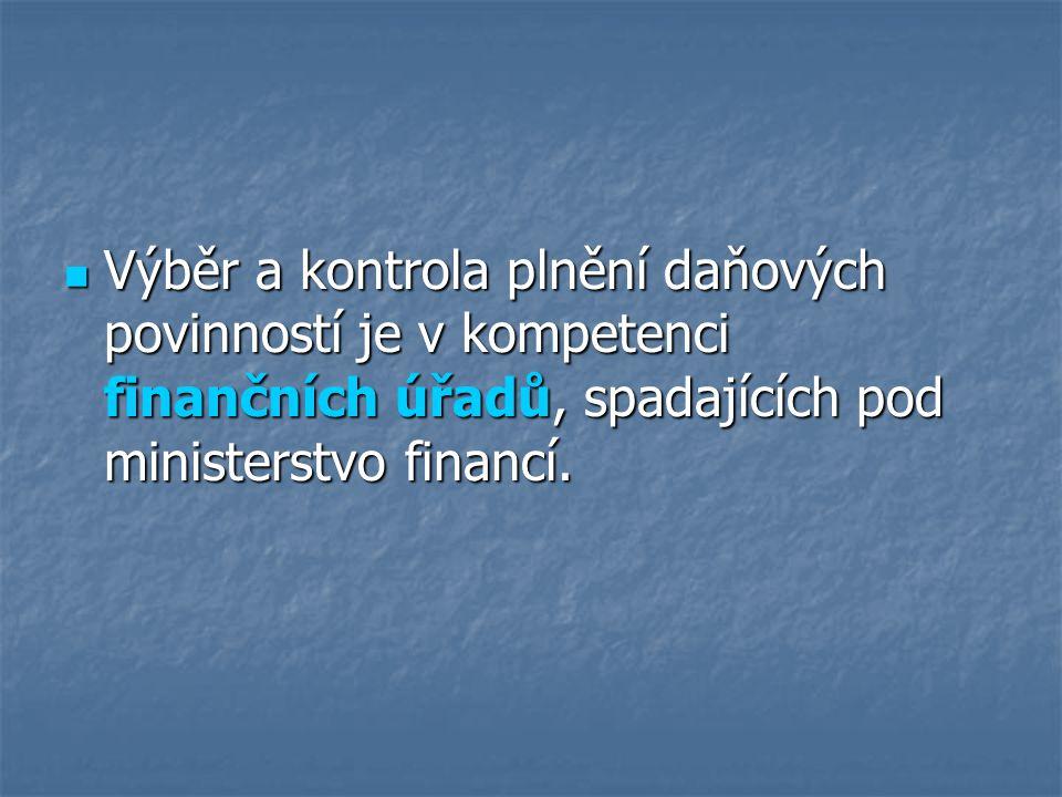 Výběr a kontrola plnění daňových povinností je v kompetenci finančních úřadů, spadajících pod ministerstvo financí.