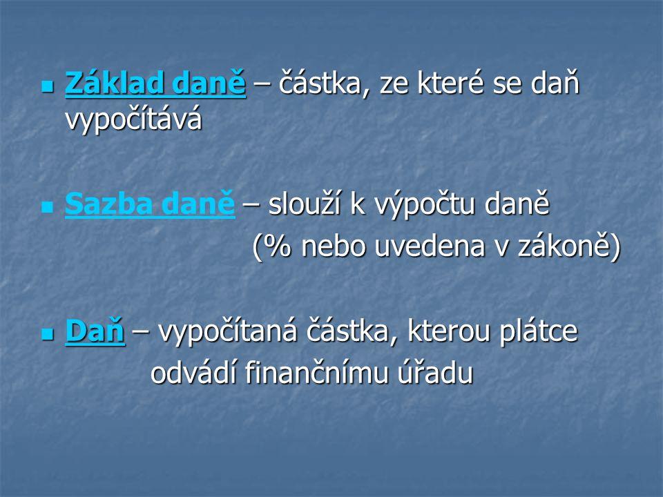 Základ daně – částka, ze které se daň vypočítává Základ daně – částka, ze které se daň vypočítává – slouží k výpočtu daně Sazba daně – slouží k výpočtu daně (% nebo uvedena v zákoně) (% nebo uvedena v zákoně) Daň – vypočítaná částka, kterou plátce Daň – vypočítaná částka, kterou plátce odvádí finančnímu úřadu odvádí finančnímu úřadu