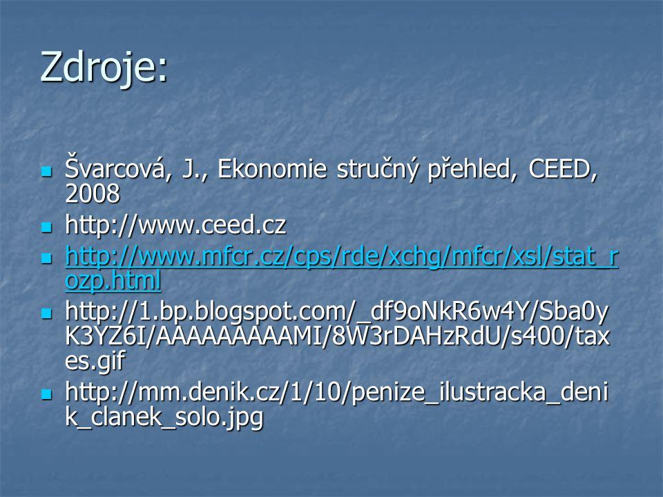 Švarcová, J., Ekonomie stručný přehled, CEED, 2008 Švarcová, J., Ekonomie stručný přehled, CEED, 2008 http://www.ceed.cz http://www.ceed.cz http://www