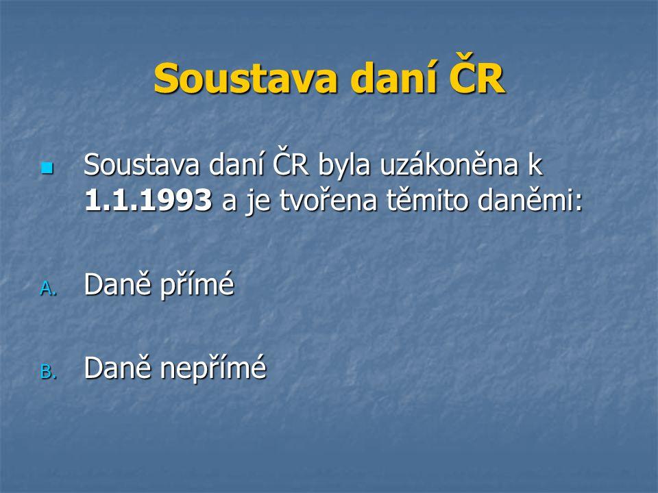 Soustava daní ČR Soustava daní ČR byla uzákoněna k 1.1.1993 a je tvořena těmito daněmi: Soustava daní ČR byla uzákoněna k 1.1.1993 a je tvořena těmito