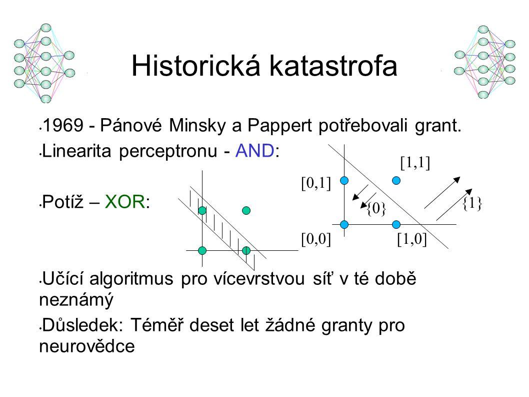 1969 - Pánové Minsky a Pappert potřebovali grant. Linearita perceptronu - AND: Potíž – XOR: Učící algoritmus pro vícevrstvou síť v té době neznámý Důs
