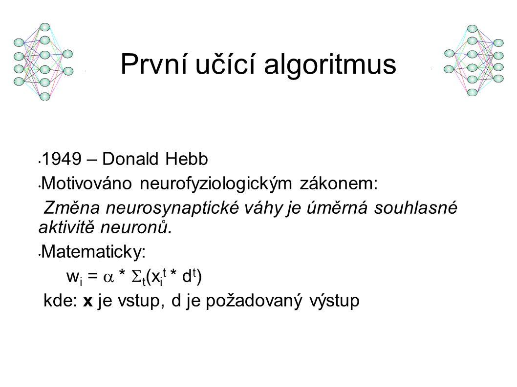 První učící algoritmus 1949 – Donald Hebb Motivováno neurofyziologickým zákonem: Změna neurosynaptické váhy je úměrná souhlasné aktivitě neuronů.