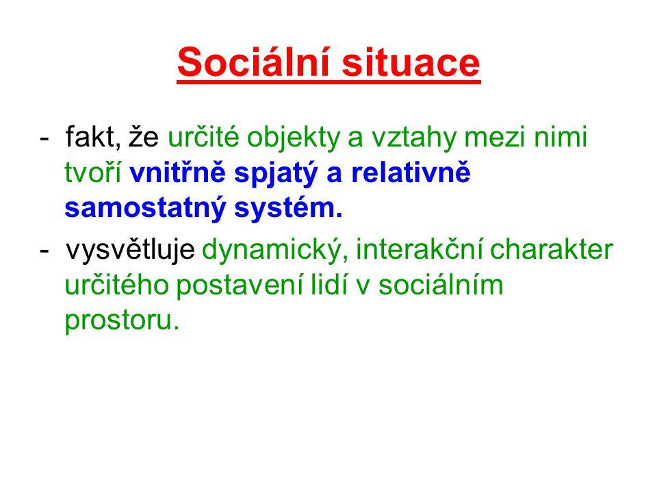 Sociální situace - fakt, že určité objekty a vztahy mezi nimi tvoří vnitřně spjatý a relativně samostatný systém. - vysvětluje dynamický, interakční c