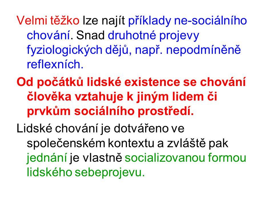 Velmi těžko lze najít příklady ne-sociálního chování.