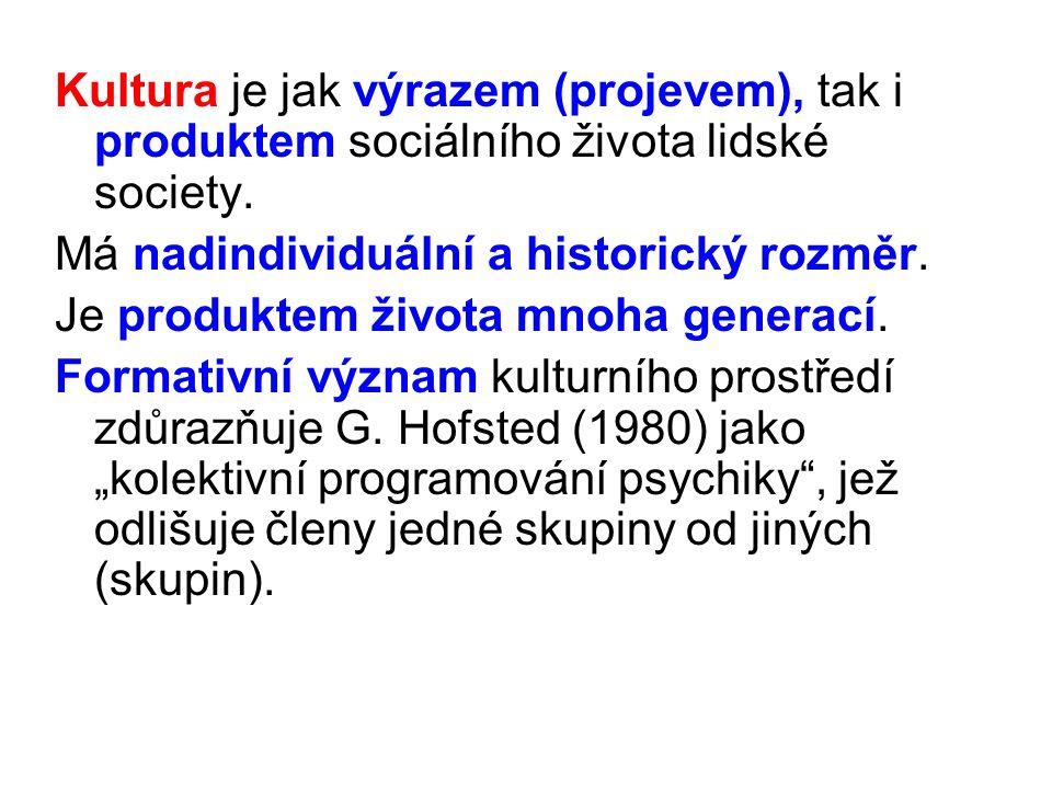 Kultura je jak výrazem (projevem), tak i produktem sociálního života lidské society. Má nadindividuální a historický rozměr. Je produktem života mnoha