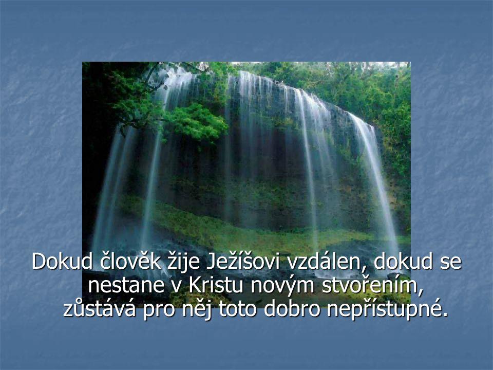 Dokud člověk žije Ježíšovi vzdálen, dokud se nestane v Kristu novým stvořením, zůstává pro něj toto dobro nepřístupné.