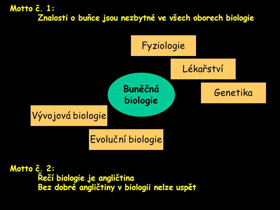Motto č. 1: Znalosti o buňce jsou nezbytné ve všech oborech biologie Buněčná biologie Fyziologie Lékařství Vývojová biologie Evoluční biologie Genetik
