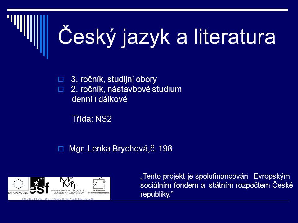 Český jazyk a literatura  3.ročník, studijní obory  2.