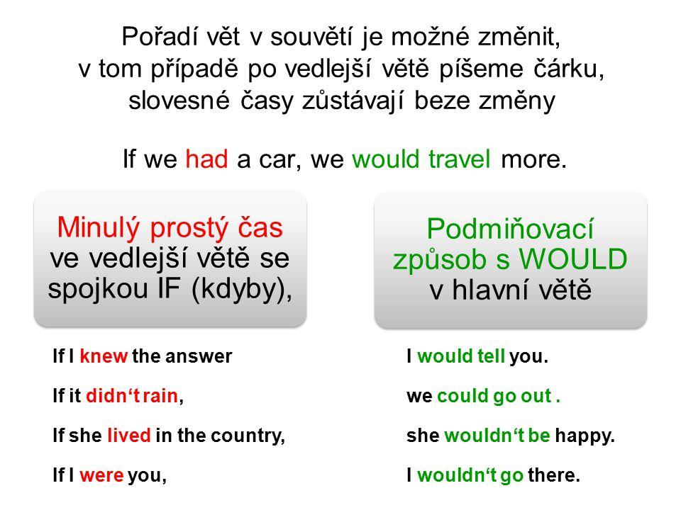 Pořadí vět v souvětí je možné změnit, v tom případě po vedlejší větě píšeme čárku, slovesné časy zůstávají beze změny If we had a car, we would travel more.