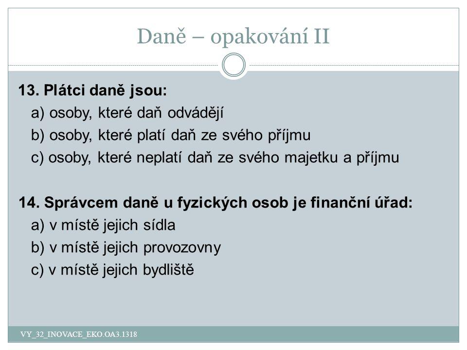 Daně – opakování II 13.