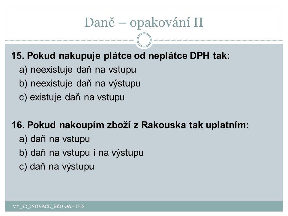 Daně – opakování II 15.