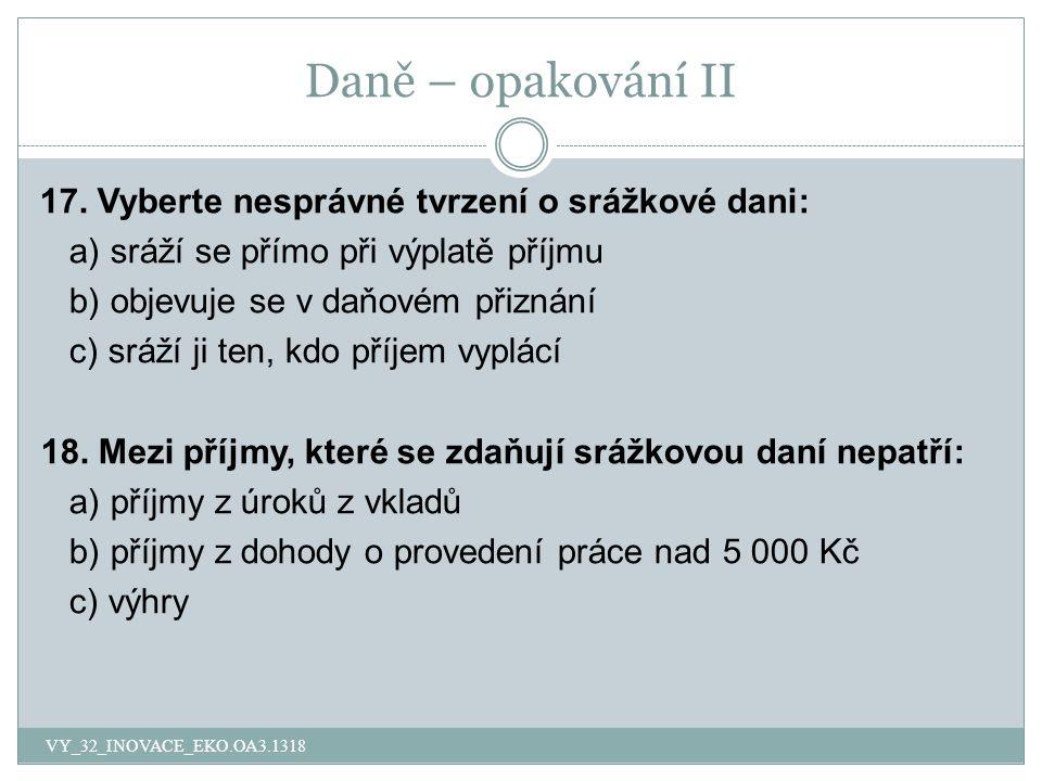 Daně – opakování II 17.