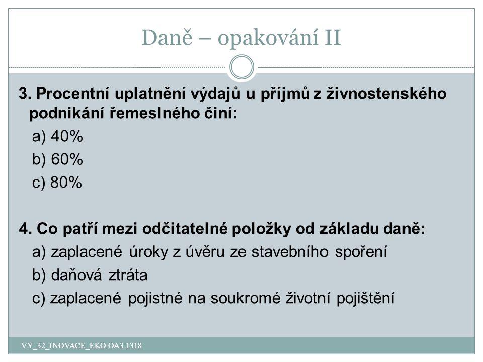Daně – opakování II 3.