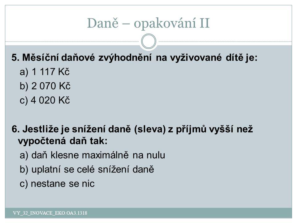 Daně – opakování II 5.