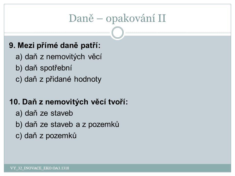 Daně – opakování II 9.