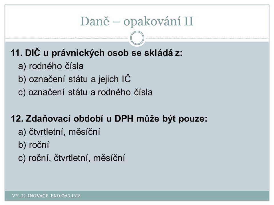 Daně – opakování II 11.