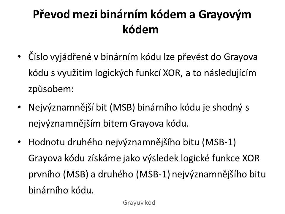 Převod mezi binárním kódem a Grayovým kódem Číslo vyjádřené v binárním kódu lze převést do Grayova kódu s využitím logických funkcí XOR, a to následuj