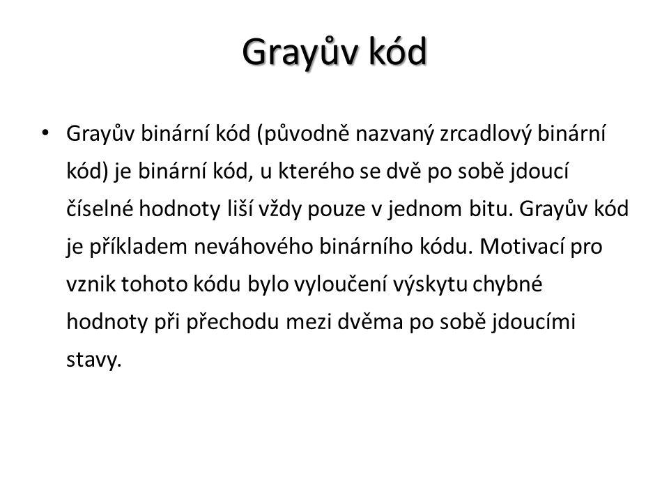 Grayův kód Grayův kód Grayův binární kód (původně nazvaný zrcadlový binární kód) je binární kód, u kterého se dvě po sobě jdoucí číselné hodnoty liší